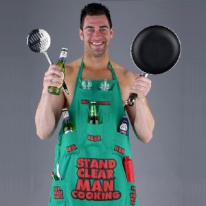 Stand Clear, Man Cooking, Novelty Apron, Handy pockets fun gift at TAOS Gifts