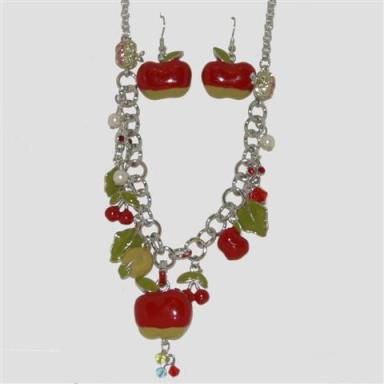 Red apple necklace and earrings gift set at taos Gifts