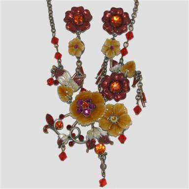 Hand painted flowers and pretty crystal droplets costume jewellery at TAOS Gifts