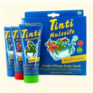blue red and green painting soap tinti bath gift set at taos gifts